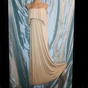 Retro style beach ready beige ruffle maxi dress, S